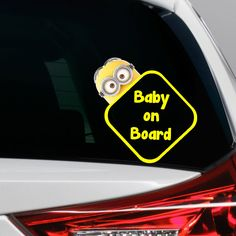 WHITE Baby on Board cute blocks vinyl decal window sticker Suv Car Minivan