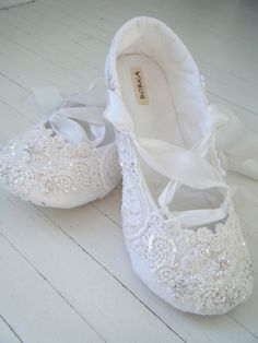 Bridal Shoes Flats, Wedding Ballet Shoes, White Crystal Ballet Flats, Lace,Custom Made By BobkaBaby. $199.00, via Etsy.