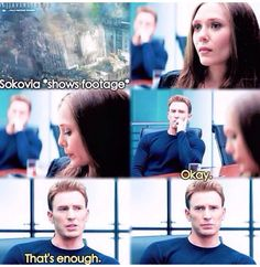 Steve, as always, is protective of his team. He sees that Wanda is uncomfortable and he puts an end to it.