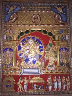 Mysore Painting, Tanjore Painting, Temple India, Hindu Deities, Painted Chairs, Hindu Art, Traditional Paintings, Indian Paintings, Paint Designs