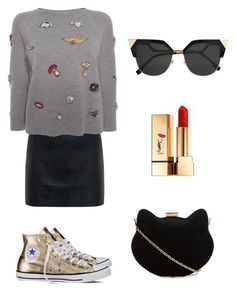 A fashion look from September 2016 featuring gray shirt, sexy mini skirts and polish shoes. Browse and shop related looks. Grey Shirt, New Look, Polyvore Fashion, Fendi, Alexander Mcqueen, Yves Saint Laurent, Converse, Mini Skirts, Sparkle