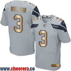 2450b46d0 Men s Nike Seattle Seahawks Russell Wilson Elite Grey Alternate C Patch NFL  Jersey