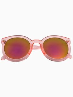 Pink Transparent Arrow Frame Sunglasses with Mirror Lens