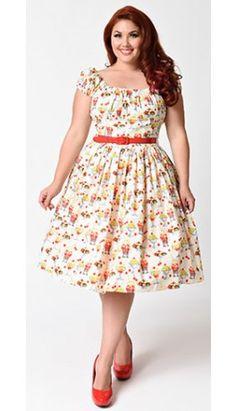 Bernie Dexter Plus Size 1950s Cream & Maraschino Cherry Sundae Jodi Swing Dress