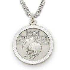 Sterling Silver Boy's Football Medal, St. Christopher on Back