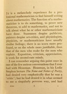 The beginning of Hardy's A Mathematician's Apology