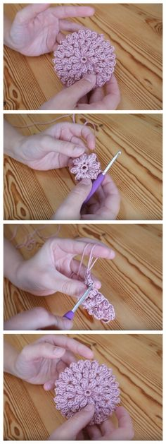 These gorgeous Crochet Popcorn Stitch Flowers are amazing, you can use this tutorial to make small flowers but also to continue to make it as large as you like for cushions etc. Crochet Motifs, Crochet Yarn, Crochet Flowers, Crochet Stitches, Crochet Hooks, Crochet Patterns, Flower Patterns, Flower Designs, Flower Ideas