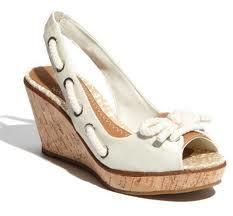 white with cork heel