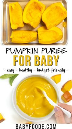 This Pumpkin Baby Puree is a creamy and flavorful way to introduce your baby to the flavors of the season! It's so good you can serve it plain or with a swirl of plain yogurt, cottage cheese for older babies, or with a spoonful of ricotta. It's a nutritious stage 1 baby food for 4-6 months and up. #homemadebabyfood #fallrecipes #healthybabypuree Baby Puree Recipes, Baby Food Recipes, Fall Recipes, Homemade Pumpkin Puree, Healthy Pumpkin, Roasted Pumpkin Seeds, Plain Yogurt, Baby In Pumpkin, Oven Roast