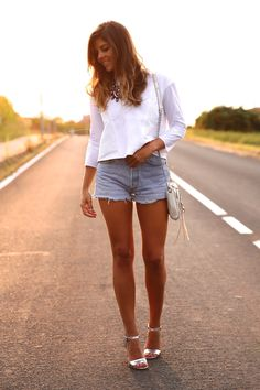 White and silver Denim short
