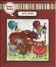 Party Animals - birthday card for male, front. This features stamps from Stampin Up's From the Herd colored with Blendabilities and Just Sayin' stamp set and diecut.