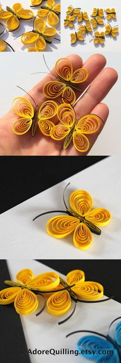 Butterflies Yellow Sunny Lemon Pineapple Table Confetti Dinner Ornaments Baby Bridal Shower Party Decor Gift Filler Party Paper Quilling Art