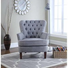 online shopping for Bentley Button Tufted Accent Chair Nail Head Trim, Gray from top store. See new offer for Bentley Button Tufted Accent Chair Nail Head Trim, Gray Dining Chair Set, Living Room Chairs, Living Room Furniture, Gray Furniture, Furniture Sale, Accent Furniture, Furniture Makeover, Accent Chairs, Ideas