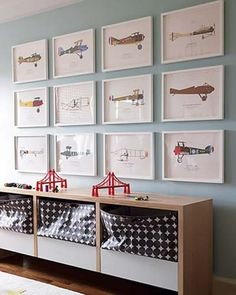 These planes are a good idea too--and cheaper. Frames from IKEA. Maybe I can print a few of these on my own...