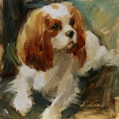 Blenheim Charm by Lindsey Bittner Graham Oil ~ 6 x 6 King Charles Spaniel, Cavalier King Charles, Dog Drawing Tutorial, Animals And Pets, Cute Animals, Dog Portraits, Portrait Wall, Pet Resort, Bunny Art