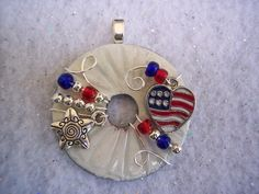 Cute Red, White and Blue Patriotic Wired and Beaded Washer Pendant via Etsy.