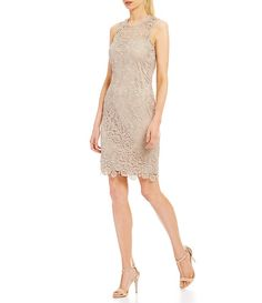Find stunning women's cocktail dresses and party dresses at Dillard's. Stand out in lace and metallic cocktail dresses and party dresses from all your favorite brands. Tan Dresses, Tea Length Dresses, Dresses For Work, Formal Dresses, Mothers Dresses, Lace Sheath Dress, Bell Sleeves, Calvin Klein, Party Dress
