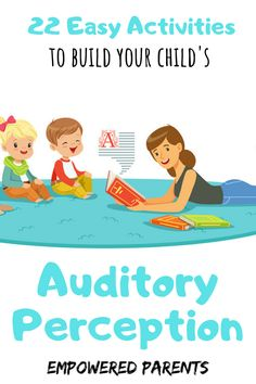 Auditory perception is an important skill for learning to read. These easy games and activities will help you prepare your preschooler for success. Educational Activities For Preschoolers, Pre Reading Activities, Preschool Literacy, Preschool Education, Therapy Activities, Learning Activities, Preschool Activities, Bilingual Education, Auditory Processing Activities