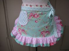 Womens Aprons - Aprons with Pink Roses - Handmade Aprons - Blue Aprons - Shabby Chic Blue Aprons - Annies Attic Aprons - Handmade Aprons by AnniesAttic on Etsy https://www.etsy.com/listing/289981865/womens-aprons-aprons-with-pink-roses
