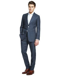 Navy Tailored Fit Suit. Best of British wool/linen blend suit made by Abraham Moon & Sons