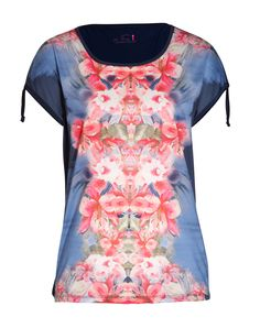 Floral T-shirt polyester/viscose