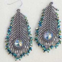 beautiful peacock feather earrings