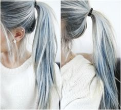 And it's breathtaking blended into these ombre locks. Denim Hair Is The Latest Hair Color Trend And It's Ridiculously Beautiful Denim Hair, Coloured Hair, Funky Hairstyles, Scene Hairstyles, Ponytail Hairstyles, Hairstyles Haircuts, Fringe Hairstyles, Latest Hairstyles, Grey Hairstyle