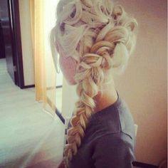 Braid. Blonde. Long hair. Updo.