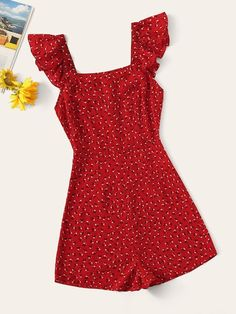 To find out about the Ruffle Trim Floral Romper at SHEIN, part of our latest Jumpsuits ready to shop online today! Lace Romper, Floral Romper, Playsuit, Ditsy Floral, Cute Casual Outfits, Summer Outfits, Summer Dresses, Fashion News, Fashion Outfits