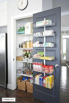 kitchen pantry storage An organized kitchen pantry makeover that went from chaotic, cluttered, messy and overwhelming to streamlined, paired-down and perfectly organized - all un Small Kitchen Pantry, Kitchen Pantry Design, Diy Kitchen Storage, Diy Storage, Organized Kitchen, Kitchen Drawers, Small Pantry Closet, Kitchen Cabinets, Smart Kitchen