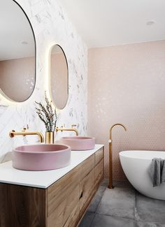 Bathroom interior 439663982368306949 - bathroom inspiration design, light pink bathroom, pink basin, vanity designs Source by Bathroom Interior Design, Interior Decorating, Interior Designing, Modern Interior, Decorating Games, Interior Architecture, Rose Gold Interior, 80s Interior Design, Marble Interior