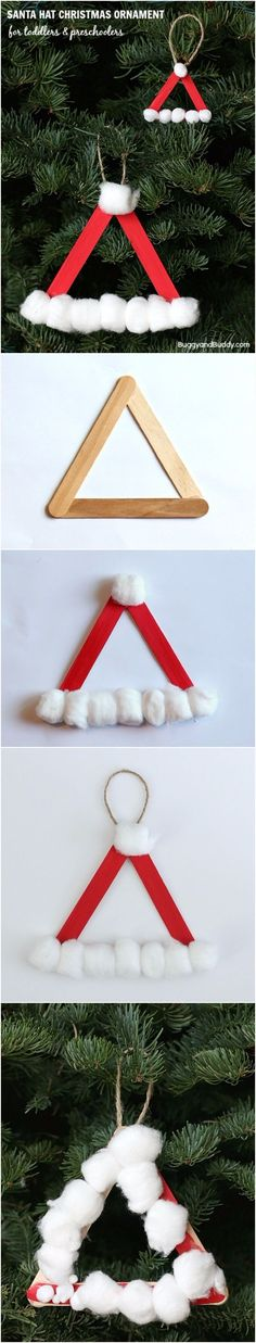 Santa Hat Homemade Christmas Ornament - it says for preschoolers but hey I love this idea! Would add horizontal red sticks to fill in the middle gap Preschool Christmas Crafts, Craft Stick Crafts, Holiday Crafts, Craft Sticks, Craft Ideas, Baby Crafts, Painted Christmas Ornaments, Christmas Holidays, Christmas Toys