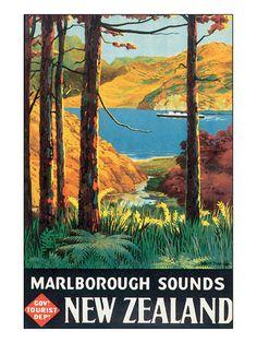 Marlborough Sounds NZ Vintage Poster for Sale - New Zealand Art Prints New Zealand Art, New Zealand Travel, Marlborough Sounds New Zealand, Pub Vintage, Vintage Style, Retro Poster, Poster Vintage, Retro Print, Vintage Artwork