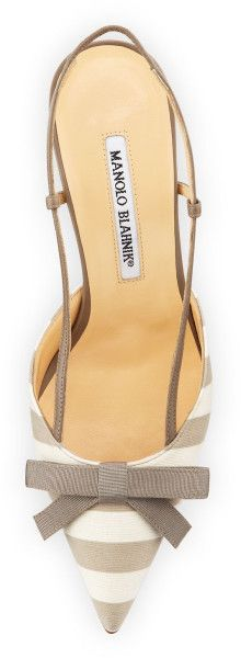 Manolo Blahnik Galop Striped Canvas Halter Pump (WHITE/TAUPE)  with <3 from JDzigner www.jdzigner.com