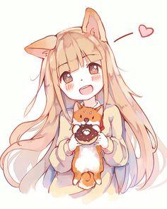 kawaii anime girl with dog <3