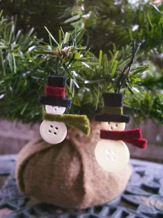 Button Snowmen. How frickin' easy is this! Would make great decorations for packages or Christmas card embellishments.  ☀CQ #snow #snowman   .·:*Let It Snow!*:·.