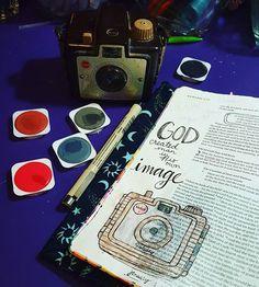 Bible journaling  #Genesis 1:27 #biblejournaling #illustratedfaith #journalingbible #artworship #arttherapy #art #myhappyplace #camera #kodak #brownieholidaycamera