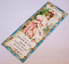 ANTIQUE ALLAN & CO PAPER ADVERTISING BOOKMARK in Collectables, Advertising, Other | eBay!