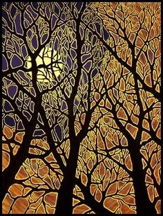 On my list to get a print of this beautiful painting! MoonScape IV - by Charl. - On my list to get a print of this beautiful painting! MoonScape IV – by Charles Heath - Batik Art, Art Et Illustration, Art Illustrations, Art Graphique, Silk Painting, Gravure, Tree Art, Painting Inspiration, Textile Art
