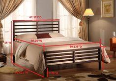 Oakland Bronze Modern Metal Slat Bed Frame (Headboard Footboard Rails & Slats)
