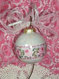 Hand Painted Pink Roses Christmas Ball  Ornament