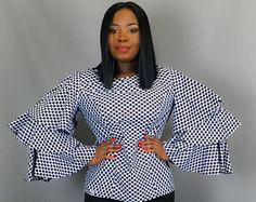 Vêtements africain, africain impression trois niveaux volant haut à manches, sommets africains, wax africain, africains maxi jupes, robe wax, haut dashiki, java