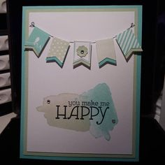 Stampin up Happy Watercolor and Banner Blast card. SAB 2014