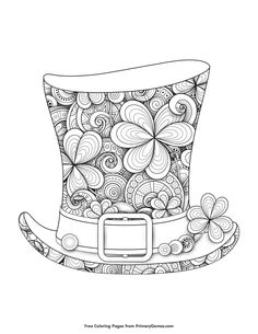 Patrick's Day Coloring Pages eBook for use in your classroom or home from PrimaryGames. Print and color this Leprechaun Top Hat coloring page. patricks day crafts for kids Leprechaun Top Hat Coloring Page Free Adult Coloring Pages, Disney Coloring Pages, Free Printable Coloring Pages, Coloring Book Pages, Coloring For Kids, Free Coloring, Coloring Sheets, Leprechaun, St Patricks Day Crafts For Kids
