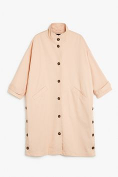 Monki Image 1 of Cotton trench-inspired coat in Orange Reddish Light