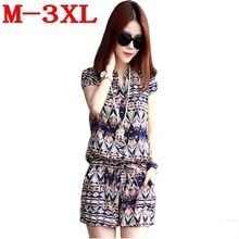 Wholesale Rompers Womens Jumpsuit Summer 2015 Print Shorts Ditsy Flower Playsuit Overalls Plus Size M-3XL macacao feminino S5423(China (Mainland))