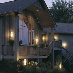 Learn how to light your home's exterior with YLighting's outdoor lighting guide and tips & tricks the most effective types of outdoor lighting. Outdoor Flush Mounts, Outdoor Wall Sconce, Outdoor Wall Lighting, Exterior Lighting, Landscape Lighting, Outdoor Walls, Outdoor Decor, Entry Lighting, House Lighting