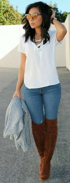 White Laced Up Top / Ripped Skinny Jeans / Brown Velvet OTK Boots