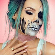 Love this half makeup and half skull makeup this is the perfect Halloween makeup looks soo amazing and wonderful love it amazing my favourite love it amazing.