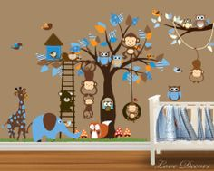 MONKEY WALL STICKERS ANIMAL OWL TREE FLOWER MURAL BIRD NURSERY BUTTERFLY GIRAFFE | eBay